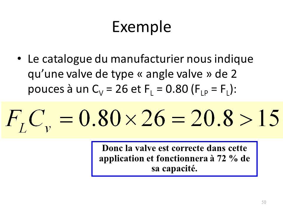 Exemple Le catalogue du manufacturier nous indique quune valve de type « angle valve » de 2 pouces à un C V = 26 et F L = 0.80 (F LP = F L ): 50 Donc