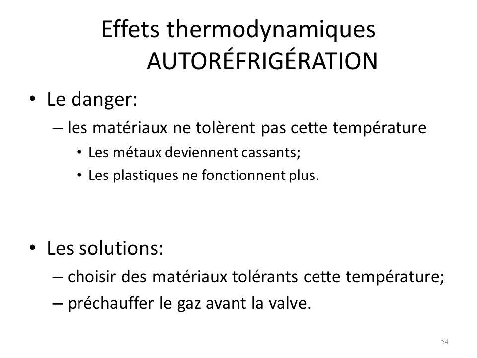 Effets thermodynamiques AUTORÉFRIGÉRATION Le danger: – les matériaux ne tolèrent pas cette température Les métaux deviennent cassants; Les plastiques