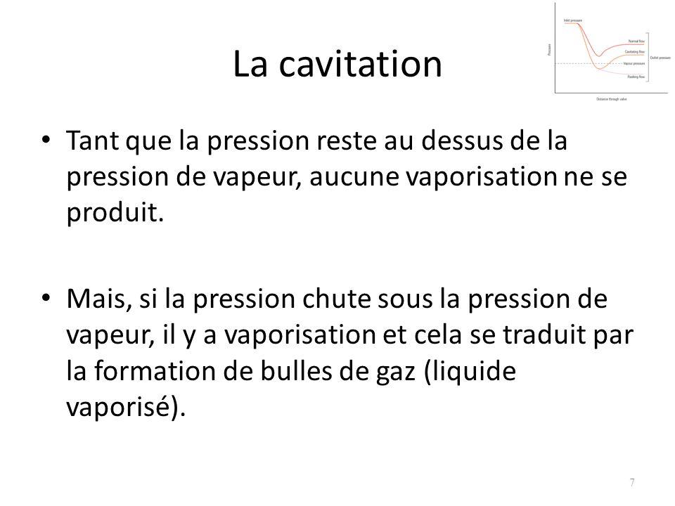 La cavitation Tant que la pression reste au dessus de la pression de vapeur, aucune vaporisation ne se produit. Mais, si la pression chute sous la pre