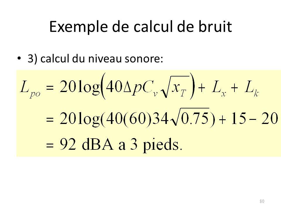 Exemple de calcul de bruit 3) calcul du niveau sonore: 80