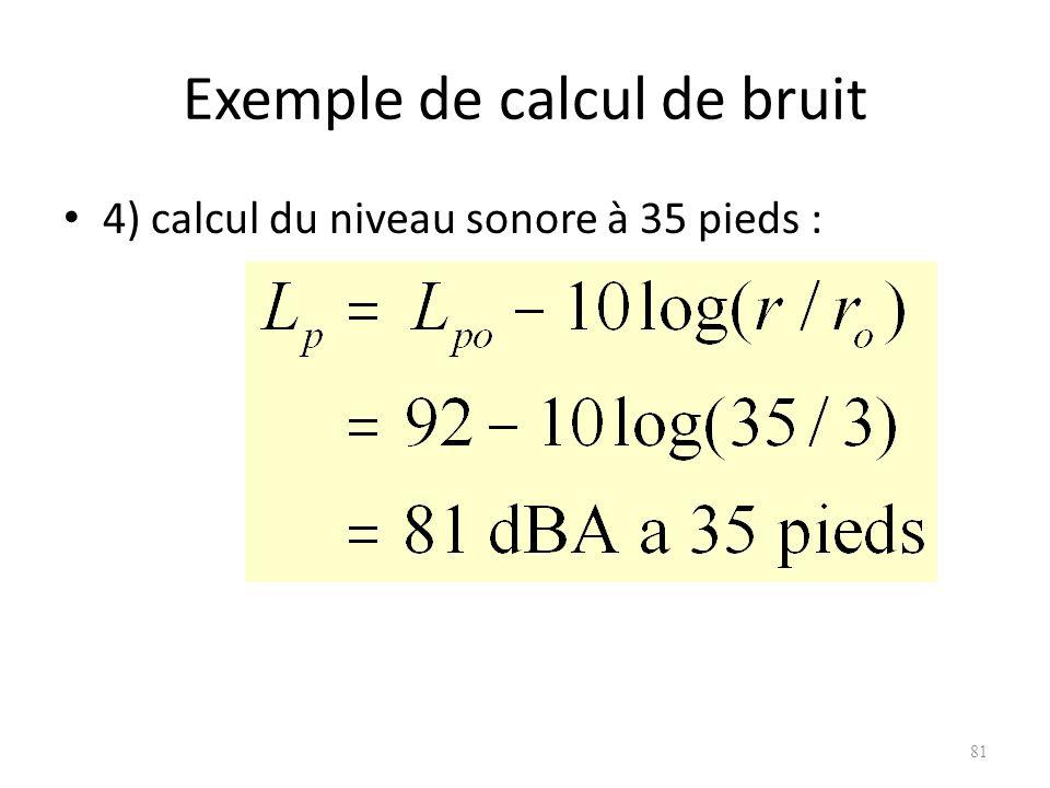 Exemple de calcul de bruit 4) calcul du niveau sonore à 35 pieds : 81