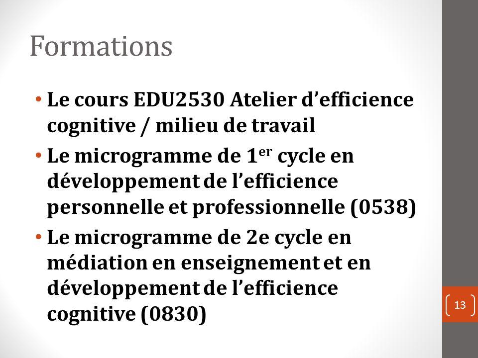 Formations Le cours EDU2530 Atelier defficience cognitive / milieu de travail Le microgramme de 1 er cycle en développement de lefficience personnelle et professionnelle (0538) Le microgramme de 2e cycle en médiation en enseignement et en développement de lefficience cognitive (0830) 13