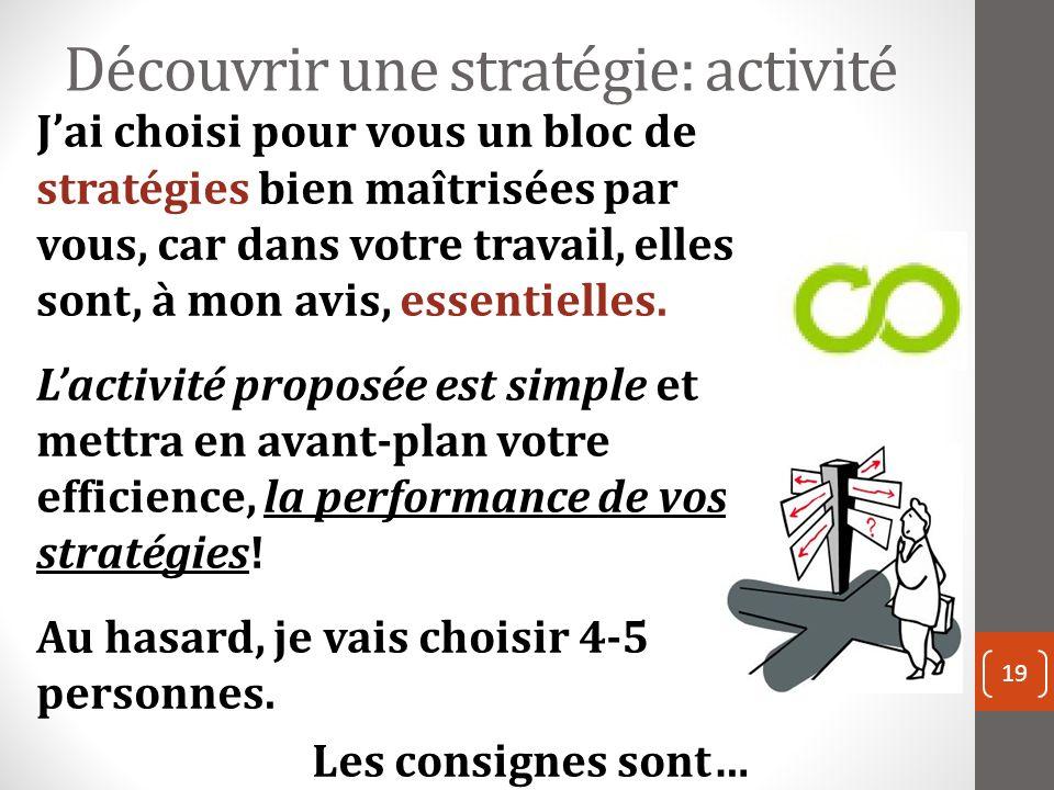 Découvrir une stratégie: activité 19 Jai choisi pour vous un bloc de stratégies bien maîtrisées par vous, car dans votre travail, elles sont, à mon avis, essentielles.