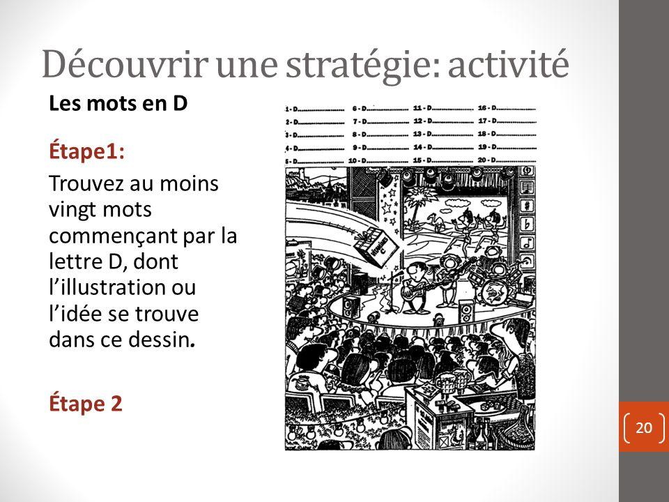 Découvrir une stratégie: activité 20 Les mots en D Étape1: Trouvez au moins vingt mots commençant par la lettre D, dont lillustration ou lidée se trouve dans ce dessin.