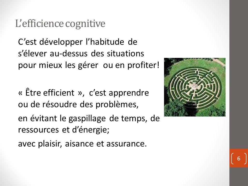 Lefficience cognitive 6 Cest développer lhabitude de sélever au-dessus des situations pour mieux les gérer ou en profiter.