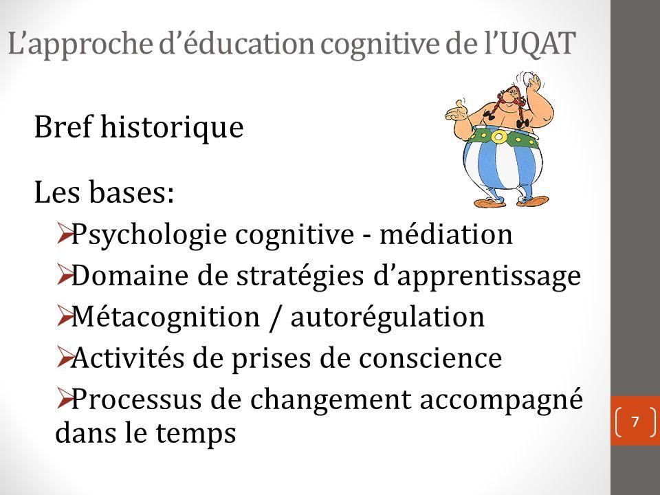 Lapproche déducation cognitive de lUQAT Bref historique Les bases: Psychologie cognitive - médiation Domaine de stratégies dapprentissage Métacognition / autorégulation Activités de prises de conscience Processus de changement accompagné dans le temps 7