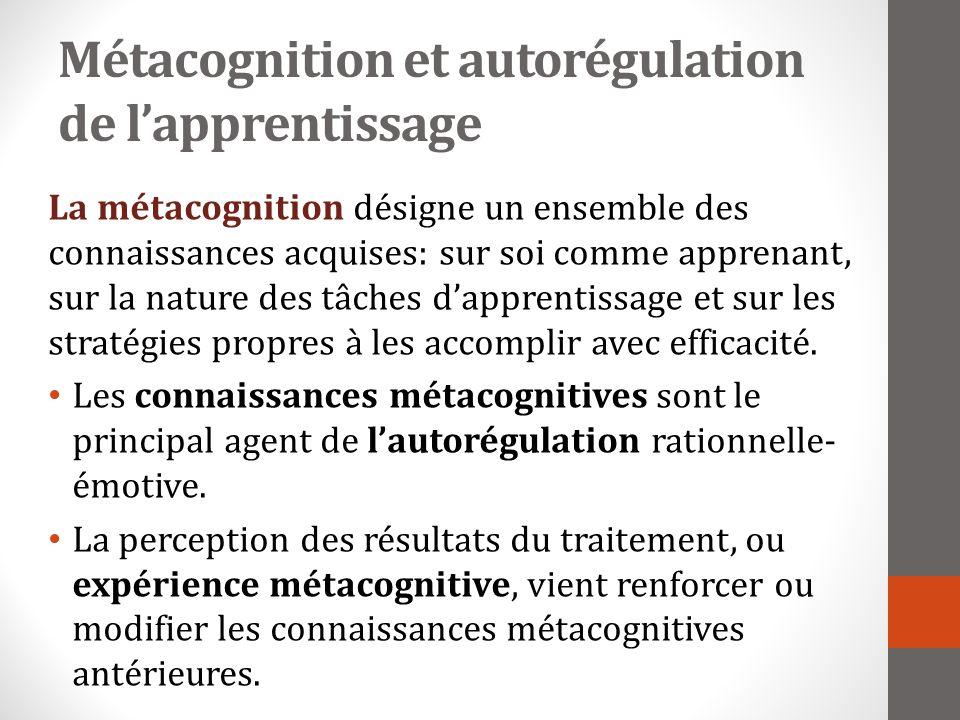 Métacognition et autorégulation de lapprentissage La métacognition désigne un ensemble des connaissances acquises: sur soi comme apprenant, sur la nature des tâches dapprentissage et sur les stratégies propres à les accomplir avec efficacité.