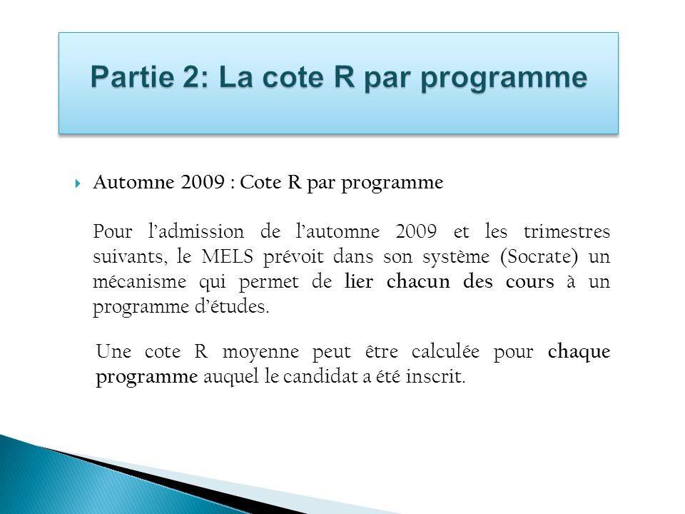 Automne 2009 : Cote R par programme Pour ladmission de lautomne 2009 et les trimestres suivants, le MELS prévoit dans son système (Socrate) un mécanis