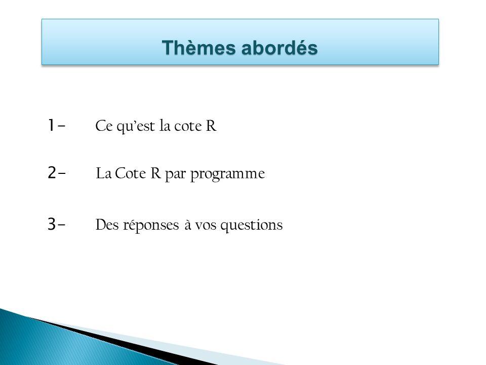 Exemple 2 Programme Dernière inscription CRC moyenne Nombre de cours contributoires DEC Sciences humainesAutomne 200832,1526Non Sciences de la natureAutomne 200626,7522Non Ensemble du dossiers.o.29,68s.o.