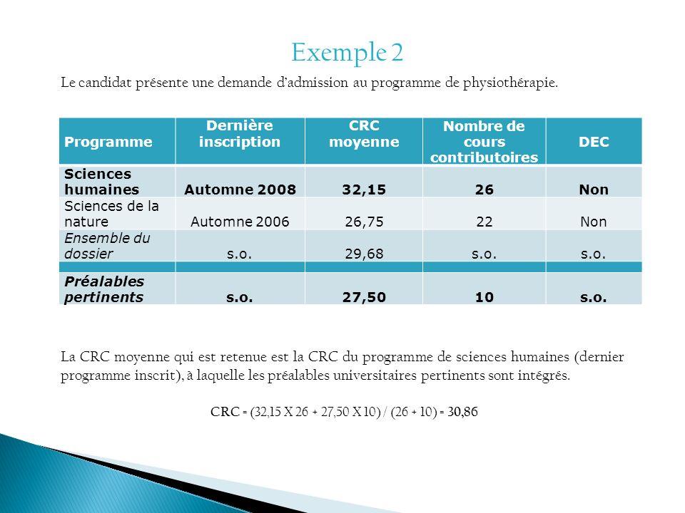 Exemple 2 Programme Dernière inscription CRC moyenne Nombre de cours contributoires DEC Sciences humainesAutomne 200832,1526Non Sciences de la natureA