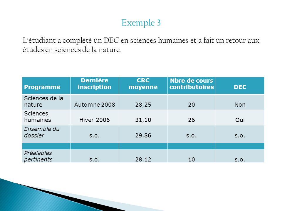 Exemple 3 Létudiant a complété un DEC en sciences humaines et a fait un retour aux études en sciences de la nature. Programme Dernière inscription CRC