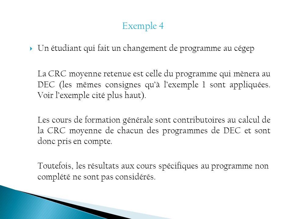Un étudiant qui fait un changement de programme au cégep La CRC moyenne retenue est celle du programme qui mènera au DEC (les mêmes consignes quà lexe