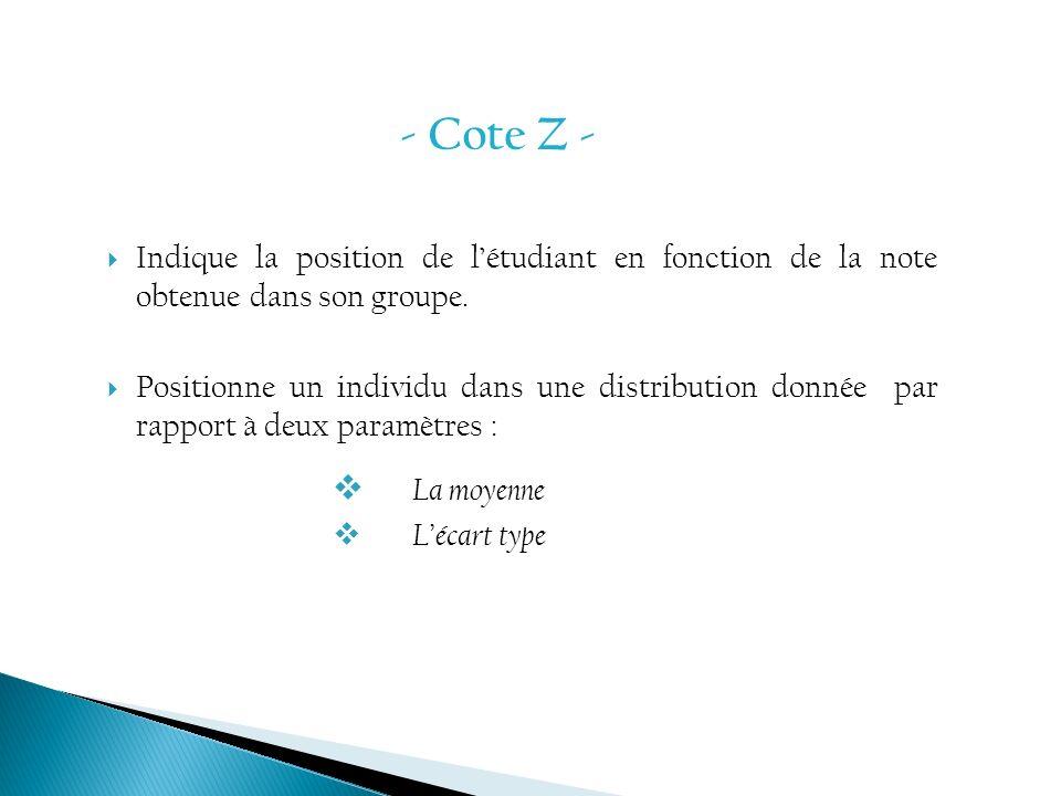 Indique la position de létudiant en fonction de la note obtenue dans son groupe. Positionne un individu dans une distribution donnée par rapport à deu