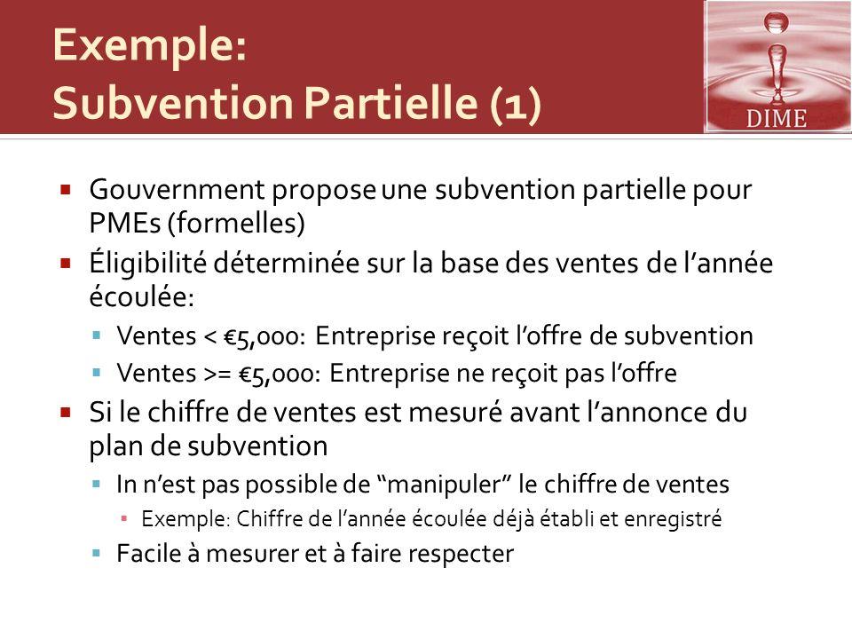 Exemple: Subvention Partielle (1) Gouvernment propose une subvention partielle pour PMEs (formelles) Éligibilité déterminée sur la base des ventes de