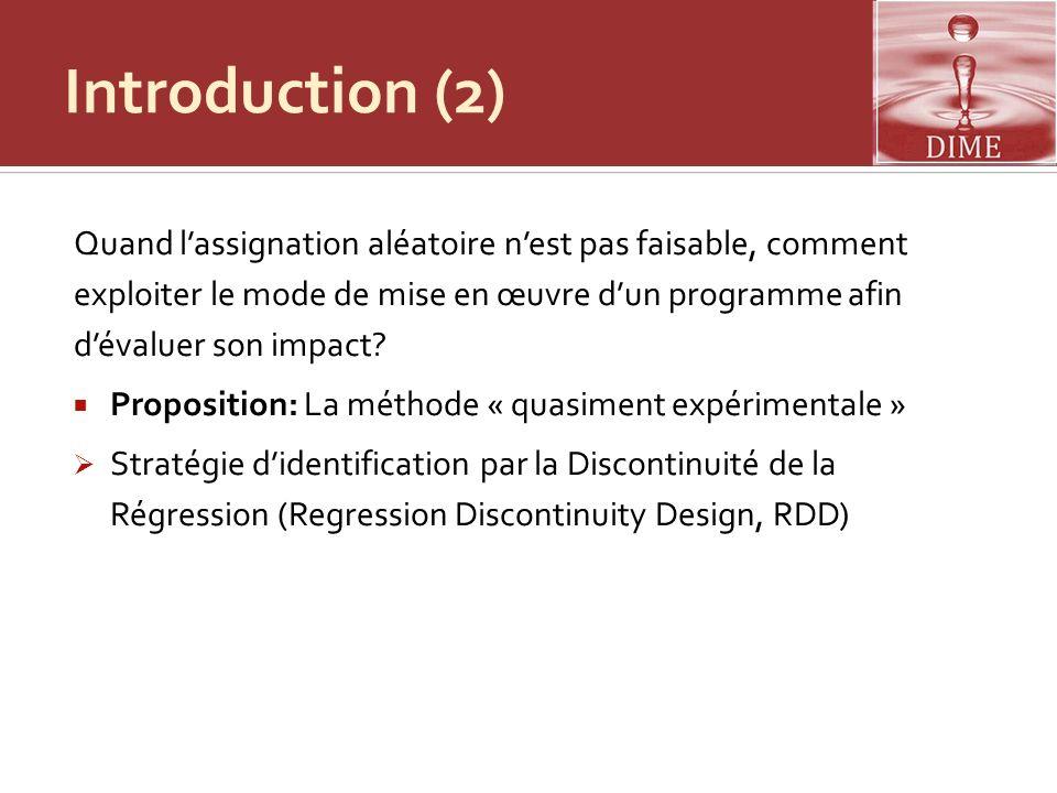 Introduction (2) Quand lassignation aléatoire nest pas faisable, comment exploiter le mode de mise en œuvre dun programme afin dévaluer son impact? Pr
