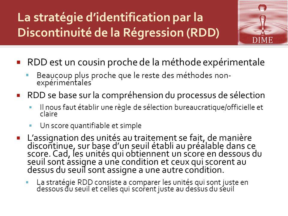 La stratégie didentification par la Discontinuité de la Régression (RDD) RDD est un cousin proche de la méthode expérimentale Beaucoup plus proche que