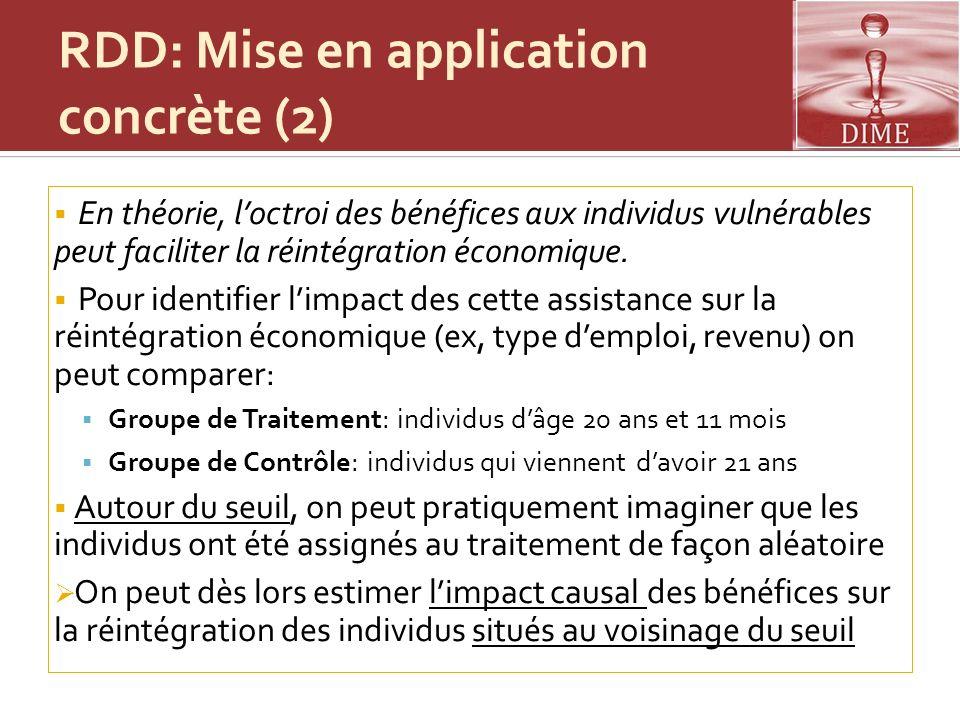 RDD: Mise en application concrète (2) En théorie, loctroi des bénéfices aux individus vulnérables peut faciliter la réintégration économique. Pour ide
