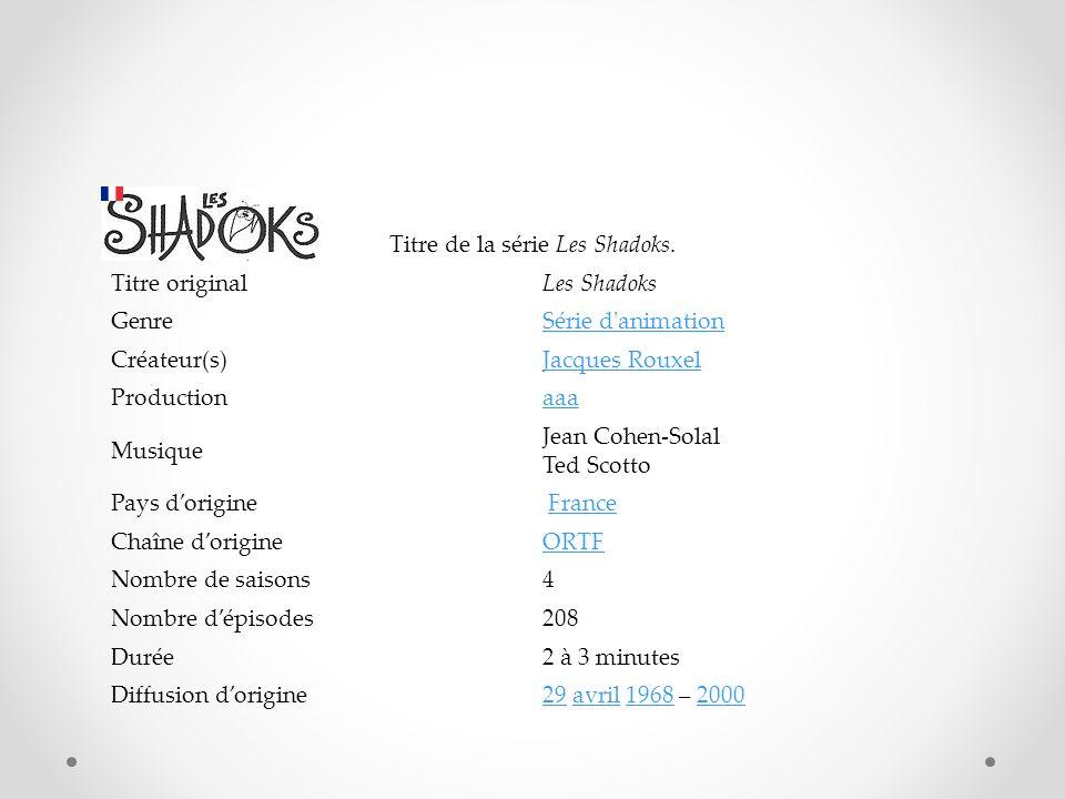 Titre de la série Les Shadoks. Titre originalLes Shadoks GenreSérie d'animation Créateur(s)Jacques Rouxel Productionaaa Musique Jean Cohen-Solal Ted S