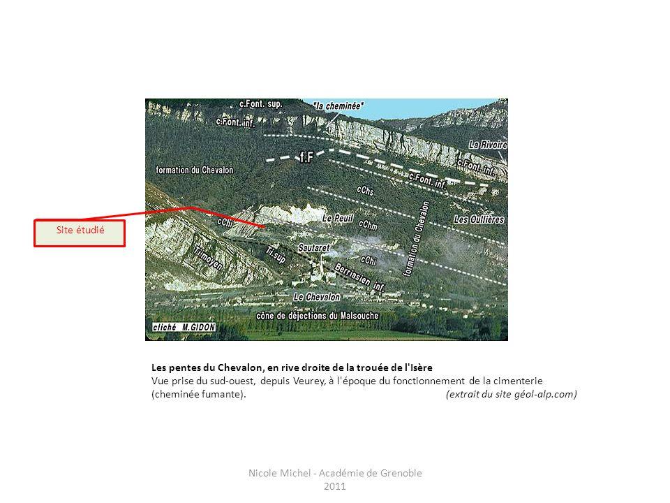 Les pentes du Chevalon, en rive droite de la trouée de l'Isère Vue prise du sud-ouest, depuis Veurey, à l'époque du fonctionnement de la cimenterie (c