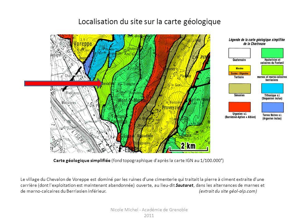 Localisation du site sur la carte géologique Carte géologique simplifiée (fond topographique d'après la carte IGN au 1/100.000°) Le village du Chevalo
