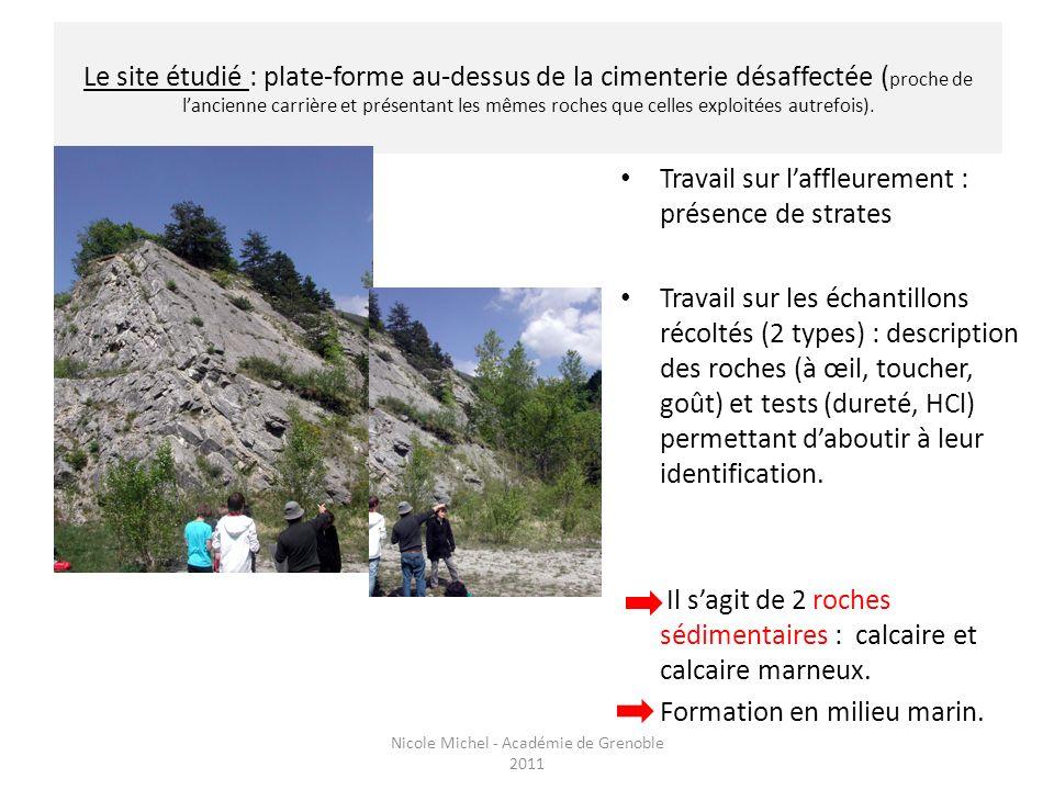 Le site étudié : plate-forme au-dessus de la cimenterie désaffectée ( proche de lancienne carrière et présentant les mêmes roches que celles exploitée
