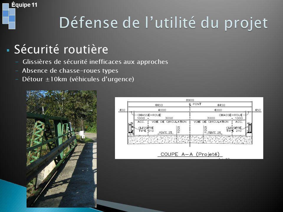 Sécurité routière - Glissières de sécurité inefficaces aux approches -Absence de chasse-roues types -Détour ±10km (véhicules durgence) Équipe 11