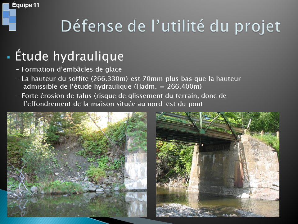 Intégrer le pont dans un environnement naturel Tous changements = Enlèvement de végétation Route de juridiction municipale Voisins à proximité des travaux (emprise, poussière, bruit) Équipe 11
