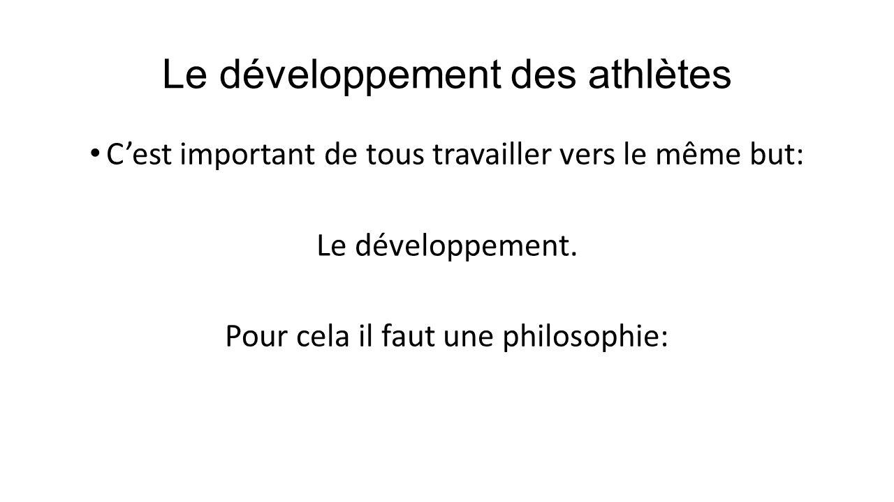 Le développement des athlètes Cest important de tous travailler vers le même but: Le développement. Pour cela il faut une philosophie: