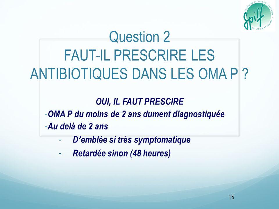 Question 2 FAUT-IL PRESCRIRE LES ANTIBIOTIQUES DANS LES OMA P ? OUI, IL FAUT PRESCIRE - OMA P du moins de 2 ans dument diagnostiquée - Au delà de 2 an