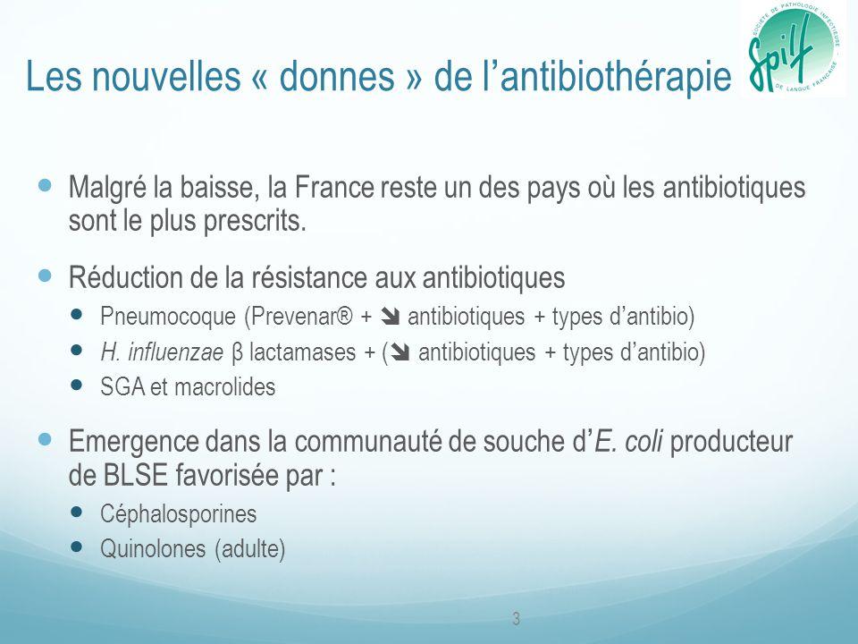 Les nouvelles « donnes » de lantibiothérapie Malgré la baisse, la France reste un des pays où les antibiotiques sont le plus prescrits.