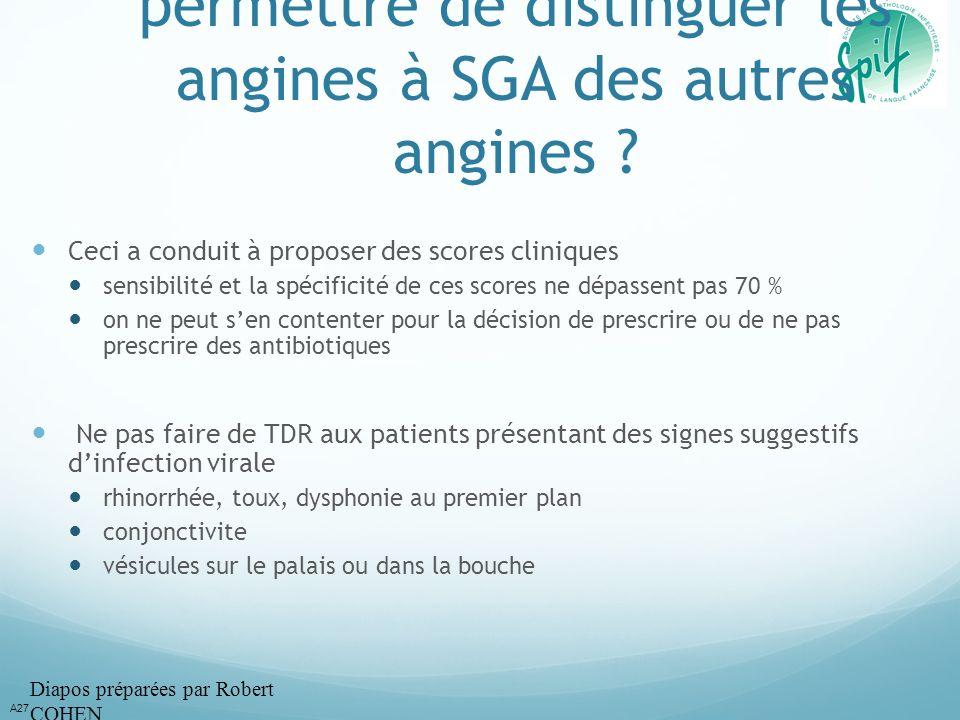 La clinique peut-elle permettre de distinguer les angines à SGA des autres angines ? Ceci a conduit à proposer des scores cliniques sensibilité et la