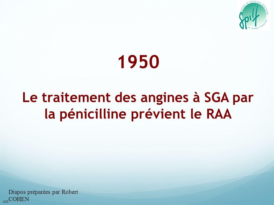 1950 Le traitement des angines à SGA par la pénicilline prévient le RAA A03 Diapos préparées par Robert COHEN