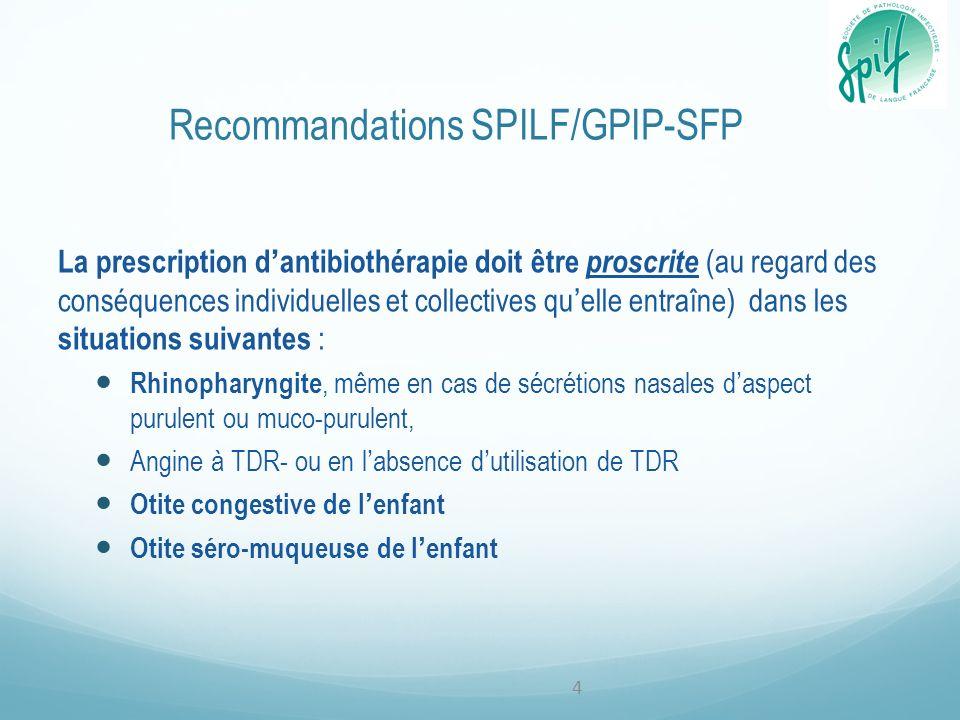 Recommandations SPILF/GPIP-SFP La prescription dantibiothérapie doit être proscrite (au regard des conséquences individuelles et collectives quelle en