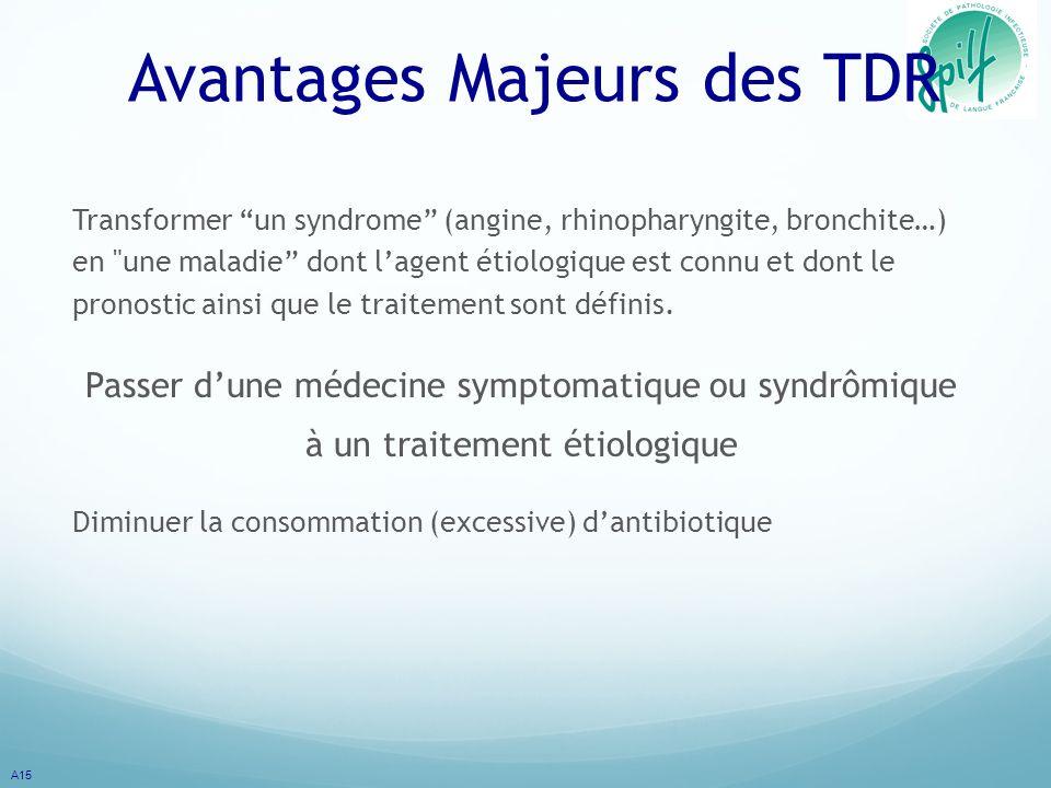 Avantages Majeurs des TDR Transformer un syndrome (angine, rhinopharyngite, bronchite…) en une maladie dont lagent étiologique est connu et dont le pronostic ainsi que le traitement sont définis.