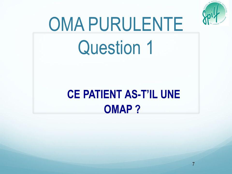 OMA PURULENTE Question 1 CE PATIENT AS-TIL UNE OMAP ? 7