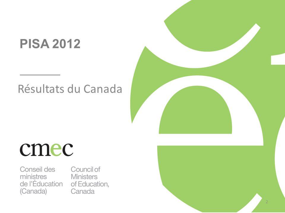 Résultats du Canada PISA 2012 2