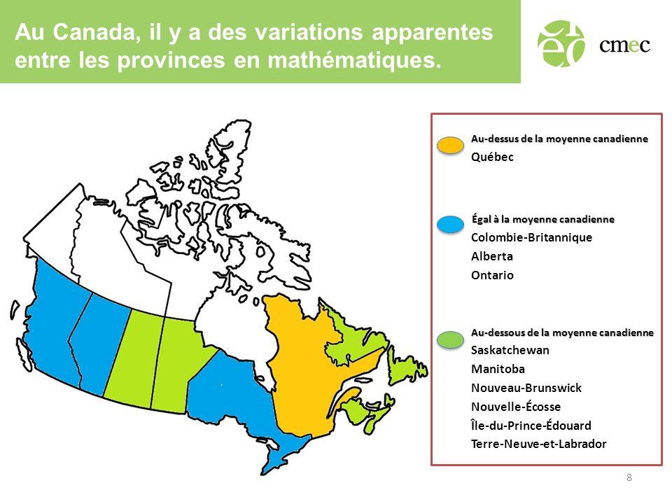 Au Canada, il y a des variations apparentes entre les provinces en mathématiques.