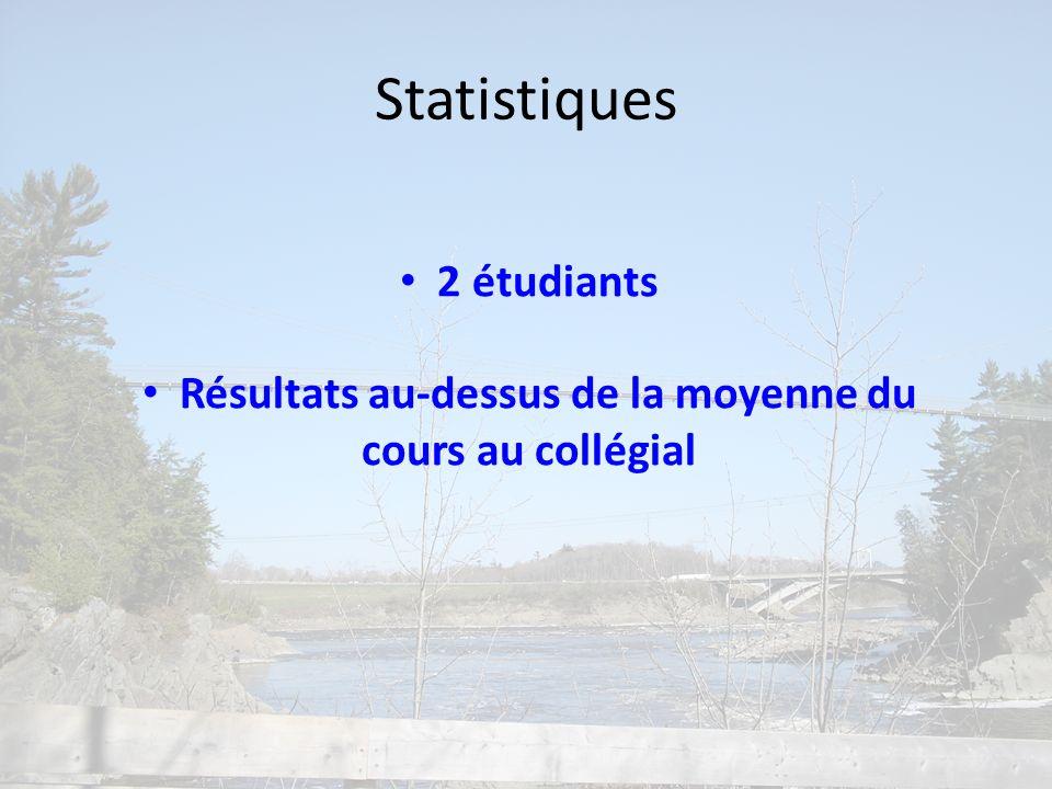 Statistiques 2 étudiants Résultats au-dessus de la moyenne du cours au collégial