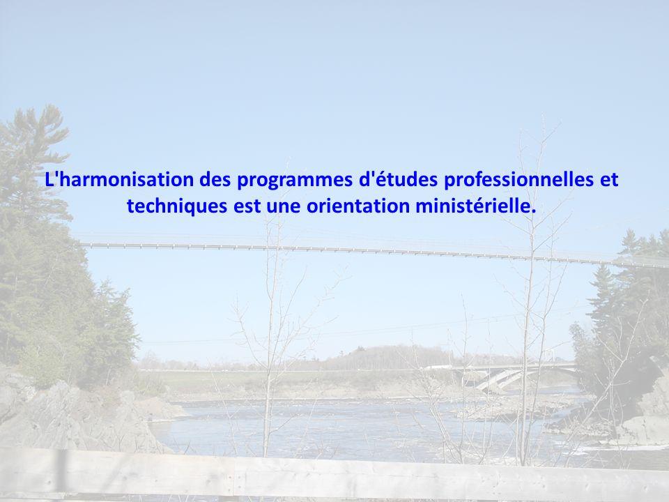 L'harmonisation des programmes d'études professionnelles et techniques est une orientation ministérielle.