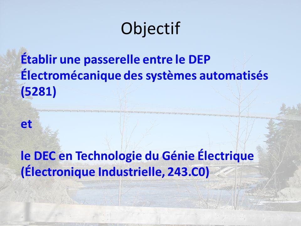 Établir une passerelle entre le DEP Électromécanique des systèmes automatisés (5281) et le DEC en Technologie du Génie Électrique (Électronique Indust