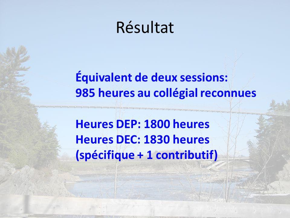 Résultat Équivalent de deux sessions: 985 heures au collégial reconnues Heures DEP: 1800 heures Heures DEC: 1830 heures (spécifique + 1 contributif)