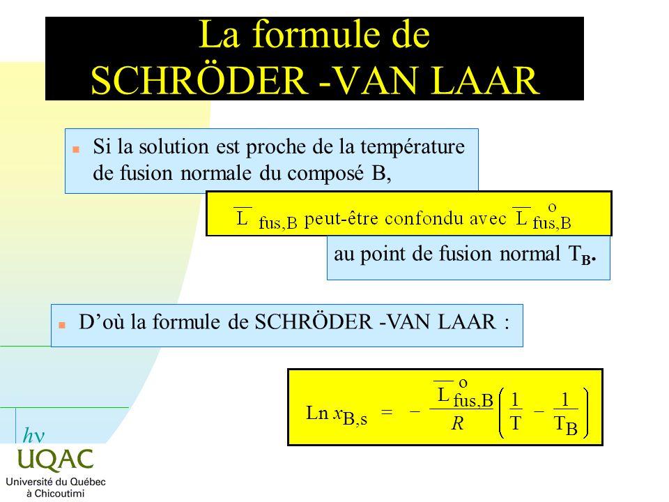 h La formule de SCHRÖDER -VAN LAAR n Si la solution est proche de la température de fusion normale du composé B, au point de fusion normal T B. n Doù