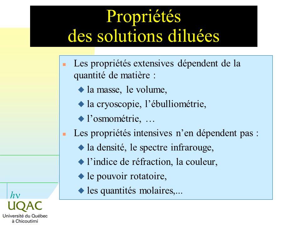 h Propriétés des solutions diluées n Les propriétés extensives dépendent de la quantité de matière : u la masse, le volume, u la cryoscopie, lébulliom