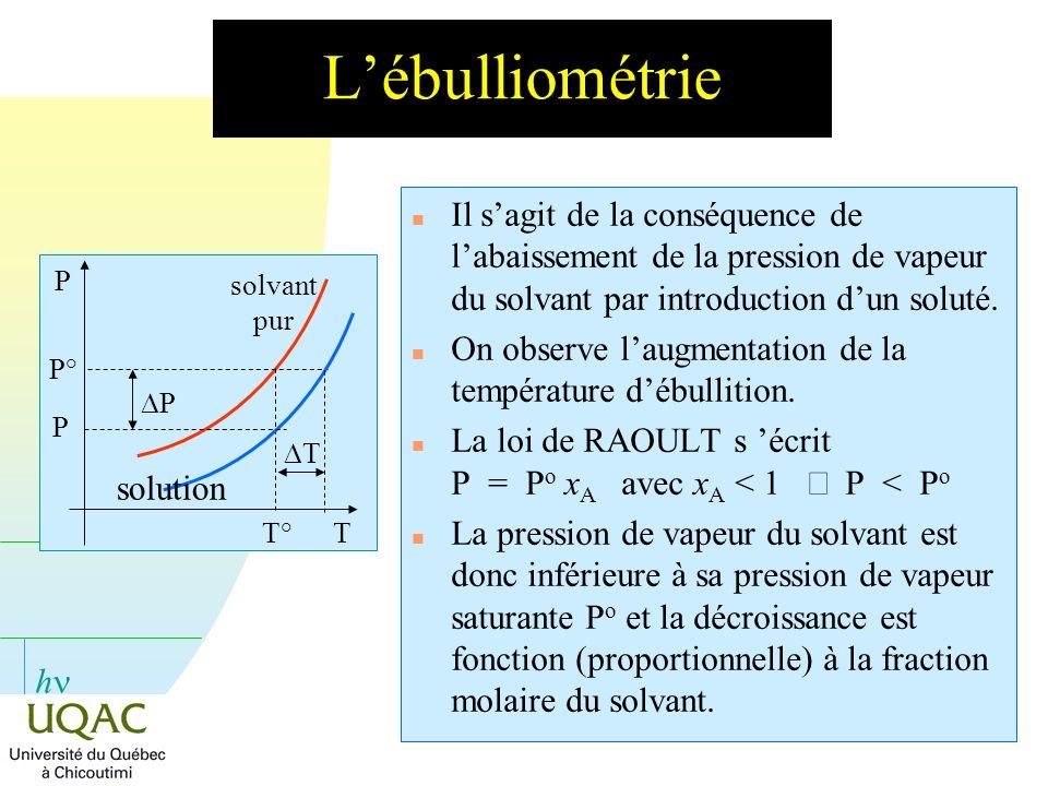 h Lébulliométrie n Il sagit de la conséquence de labaissement de la pression de vapeur du solvant par introduction dun soluté. n On observe laugmentat
