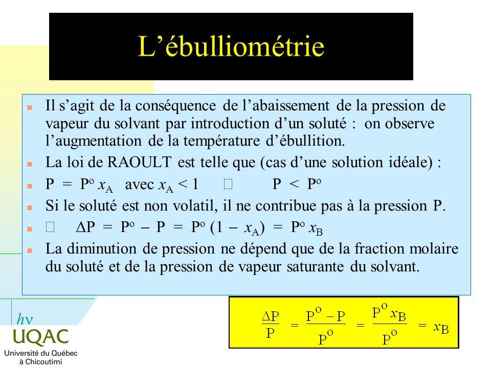 h Lébulliométrie n Il sagit de la conséquence de labaissement de la pression de vapeur du solvant par introduction dun soluté : on observe laugmentati