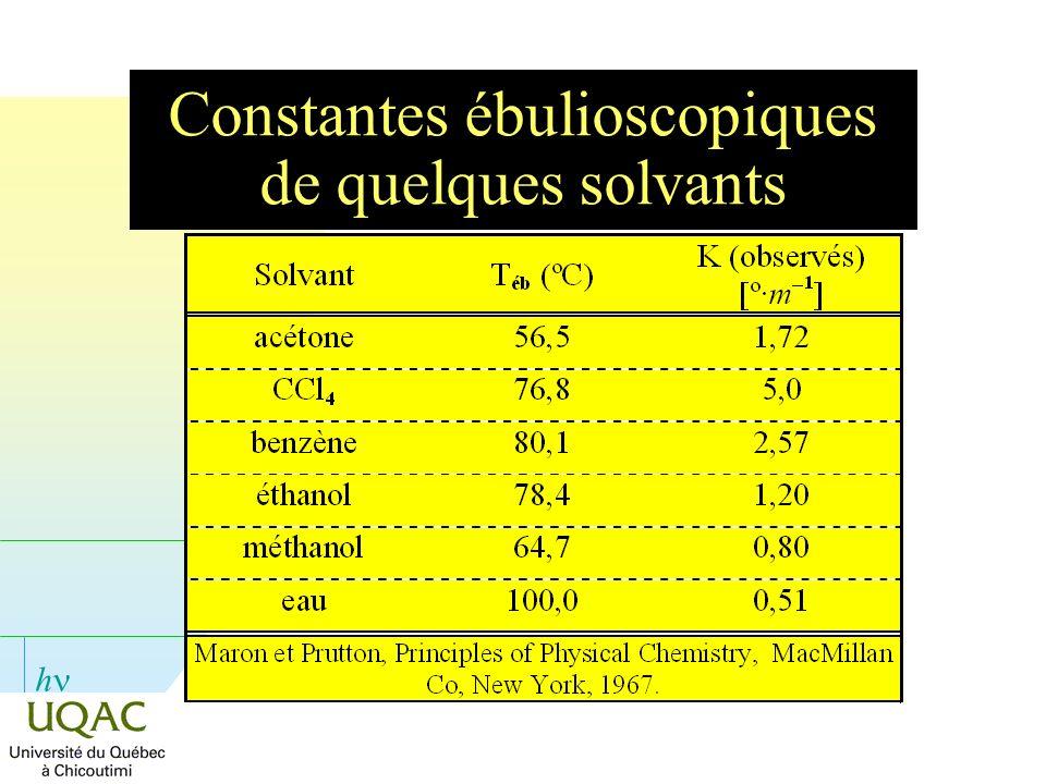 h Constantes ébulioscopiques de quelques solvants