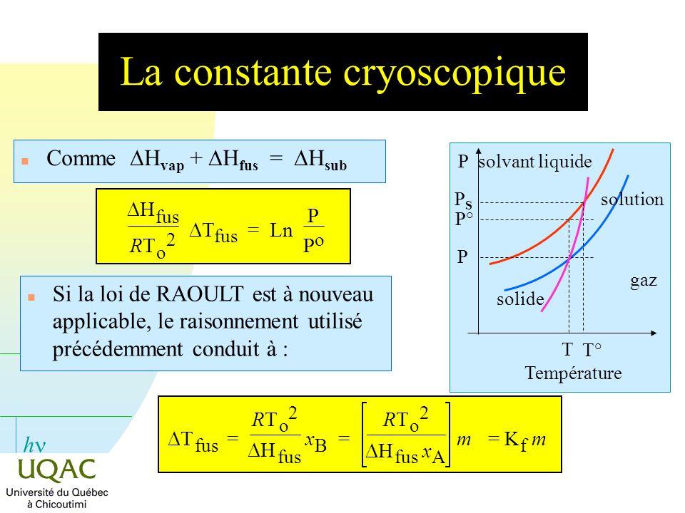 h La constante cryoscopique Comme H vap + H fus = H sub P T P° solvant liquide P solution solide gaz T° PSPS Température n Si la loi de RAOULT est à n