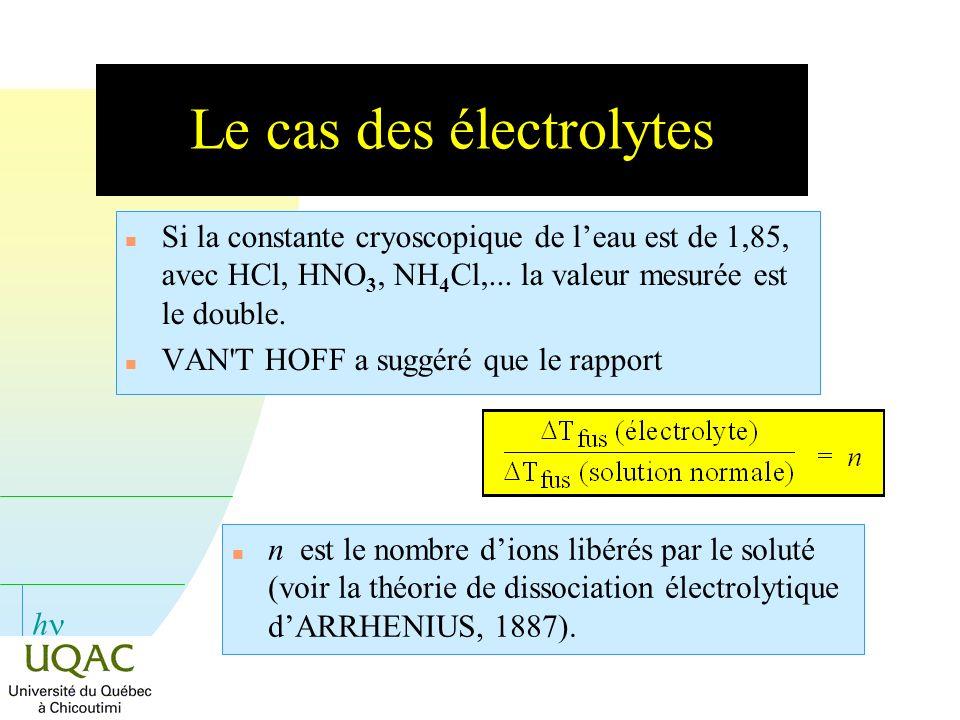 h Le cas des électrolytes n Si la constante cryoscopique de leau est de 1,85, avec HCl, HNO 3, NH 4 Cl,... la valeur mesurée est le double. n VAN'T HO