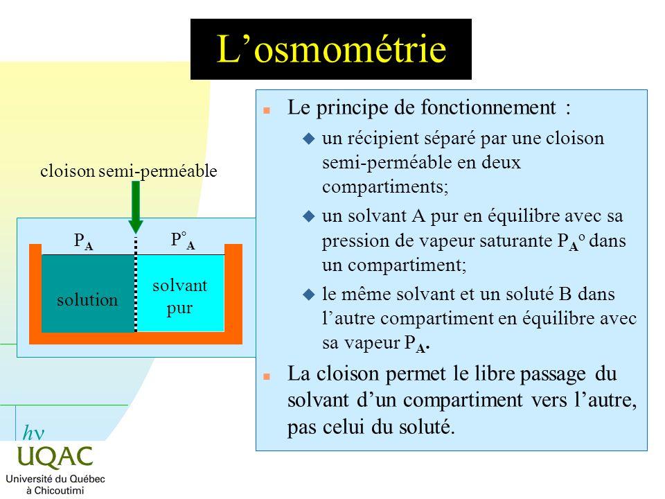 h Losmométrie n Le principe de fonctionnement : u un récipient séparé par une cloison semi-perméable en deux compartiments; un solvant A pur en équili