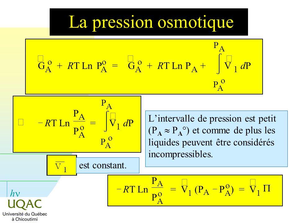h La pression osmotique Lintervalle de pression est petit (P A P A °) et comme de plus les liquides peuvent être considérés incompressibles. est const
